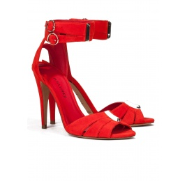 Ankle strap high heel sandals in red suede Pura López
