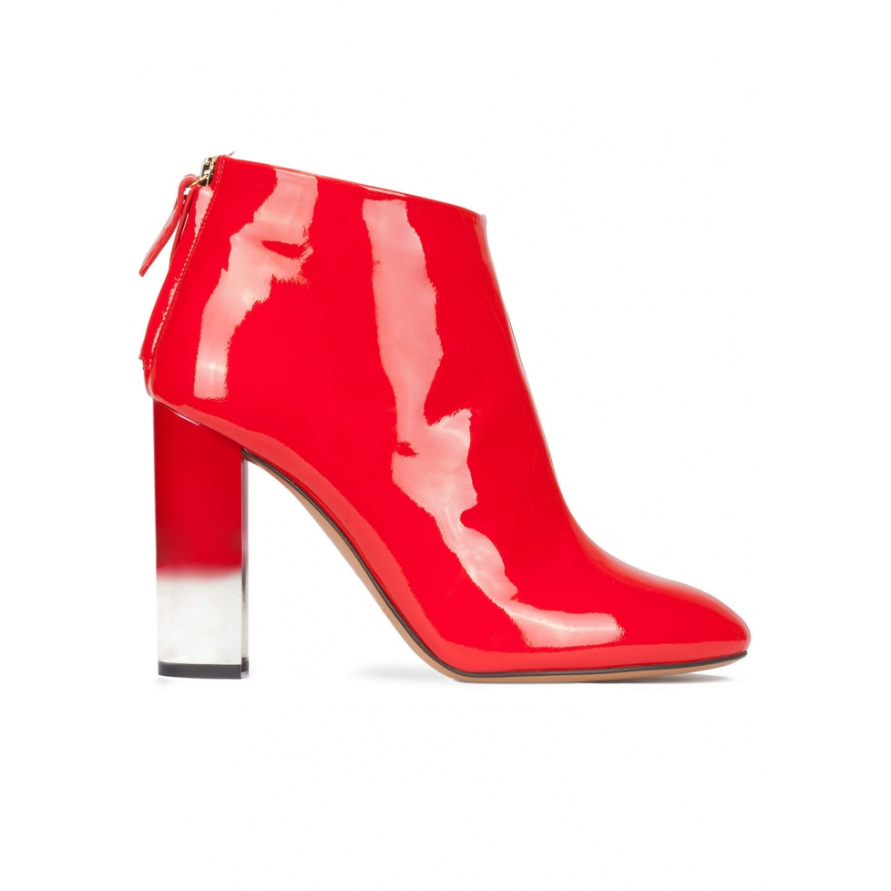 High block heel ankle boots in red patent leather