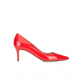 Red patent leather mid heel pumps Pura López