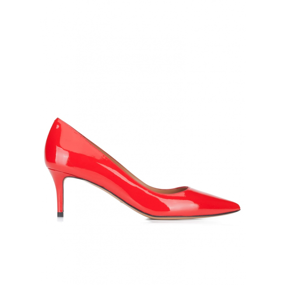 Red patent leather mid heel pumps