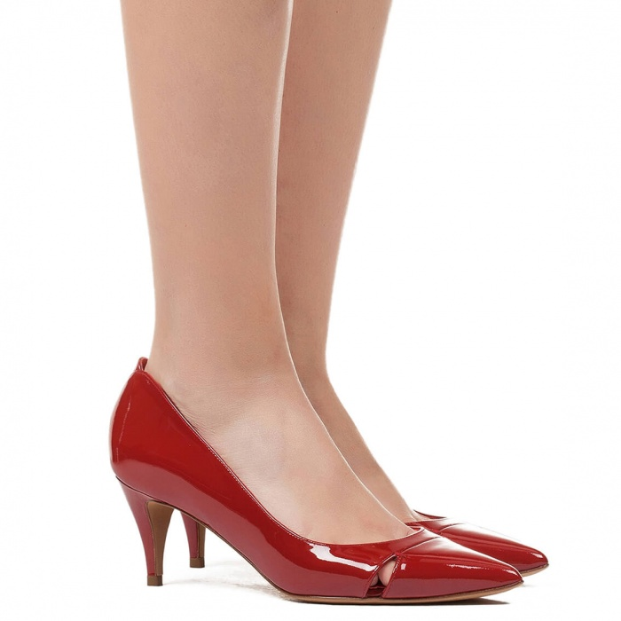Mid heel pumps in red patent - online shoe store Pura Lopez