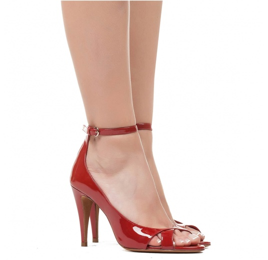 Ankle strap high heel sandals in red patent leather Pura L�pez