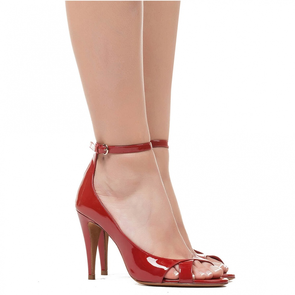 High heel sandals in red patent - online shoe store Pura Lopez
