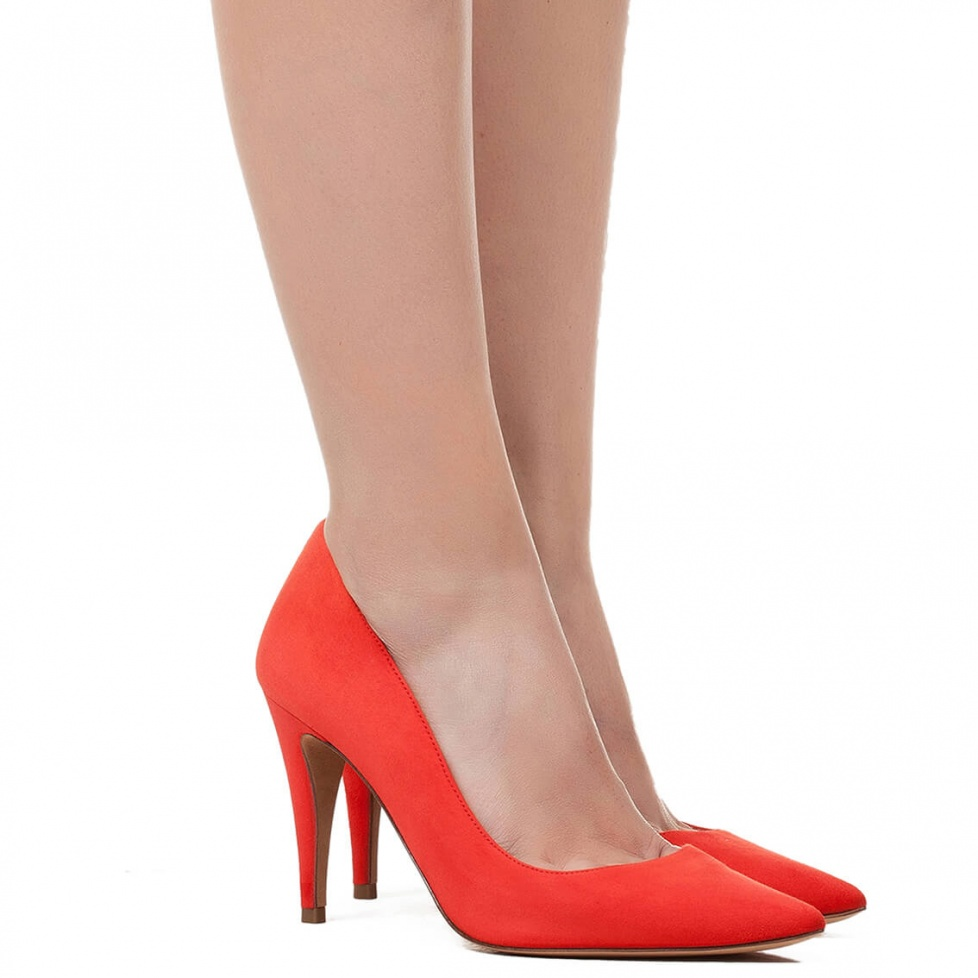 High heel pumps in red suede - online shoe store Pura Lopez