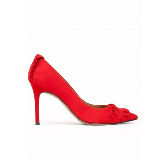 Ruffled point-toe heeled pumps in red suede Pura L�pez