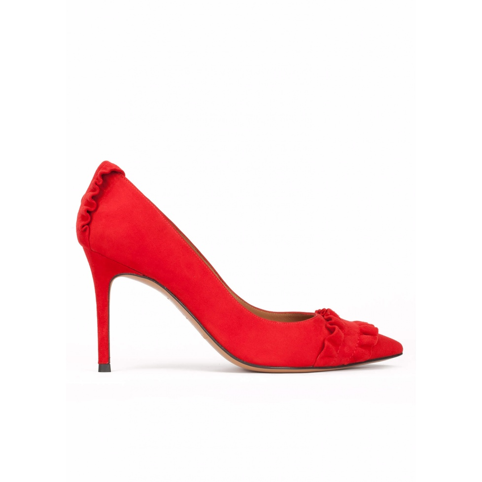 Ruffled point-toe heeled pumps in red suede