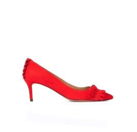 Ruffled pointy toe mid heel pumps in red suede Pura López