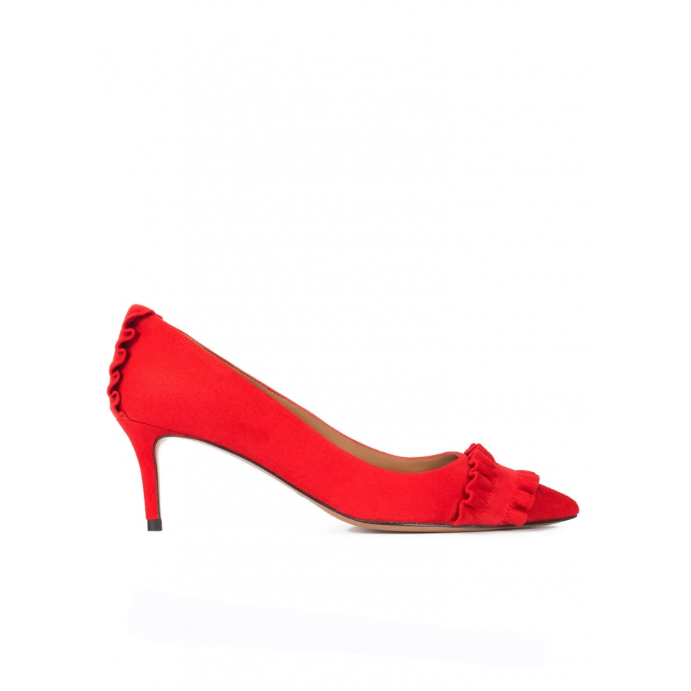Ruffled pointy toe mid heel pumps in red suede