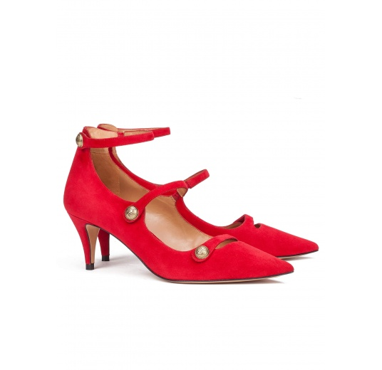 Button detailed ankle strap mid heel shoes in red suede Pura L�pez