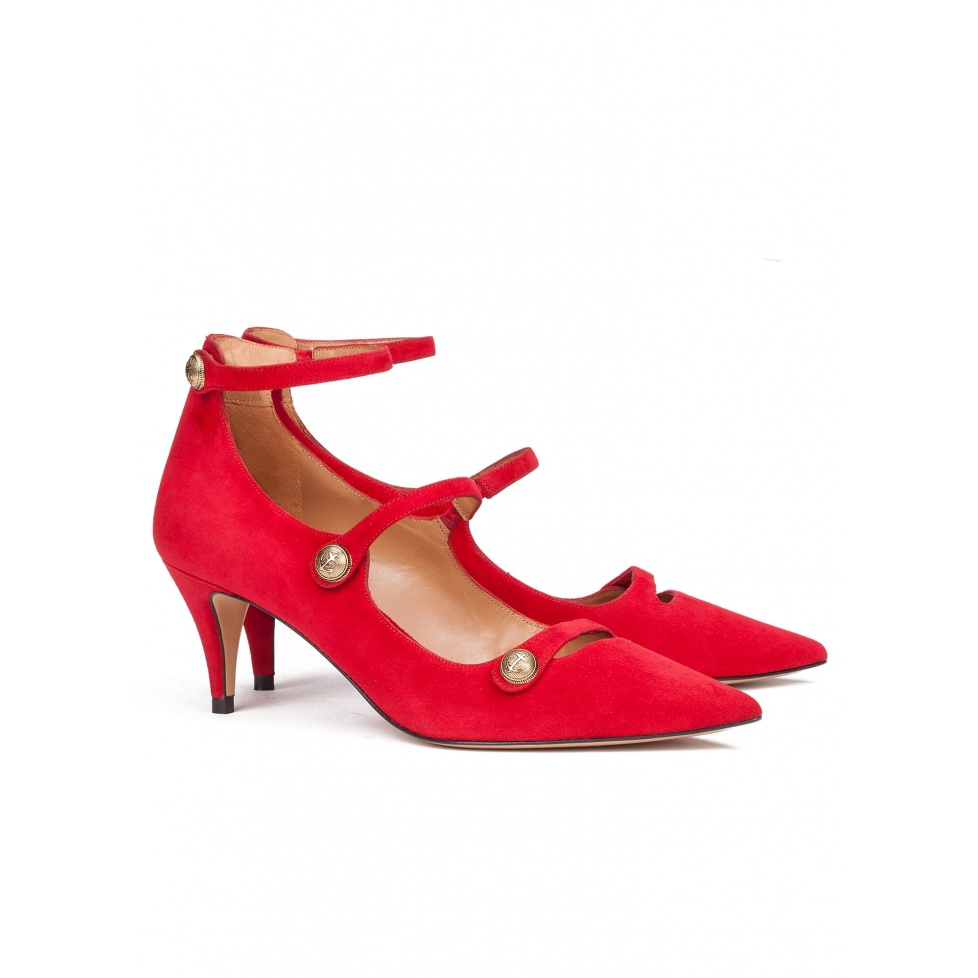 Red suede mid heel shoes - online shoe store Pura Lopez
