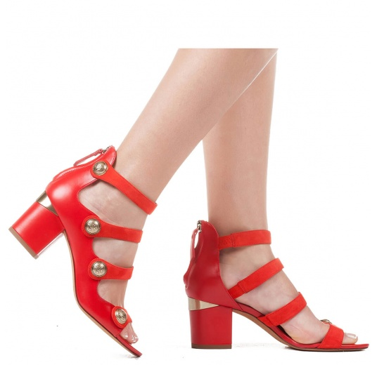 Mid block heel sandals in red leather with metallic buttons Pura L�pez