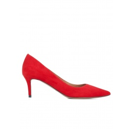 Zapatos de medio tacón en ante rojo Pura López