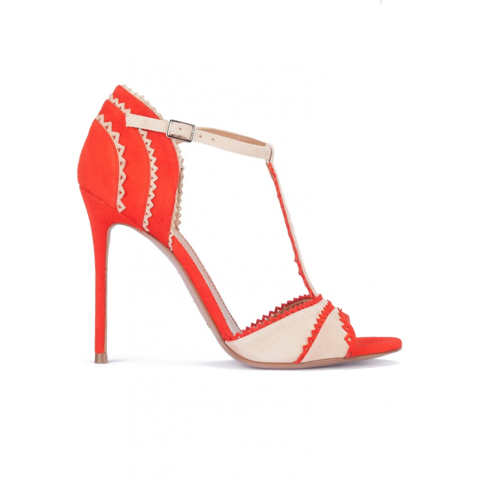 Red and sand suede heeled sandals with T-bar