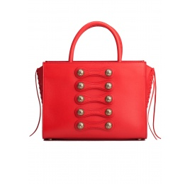 Button detailed bag in red leather Pura López