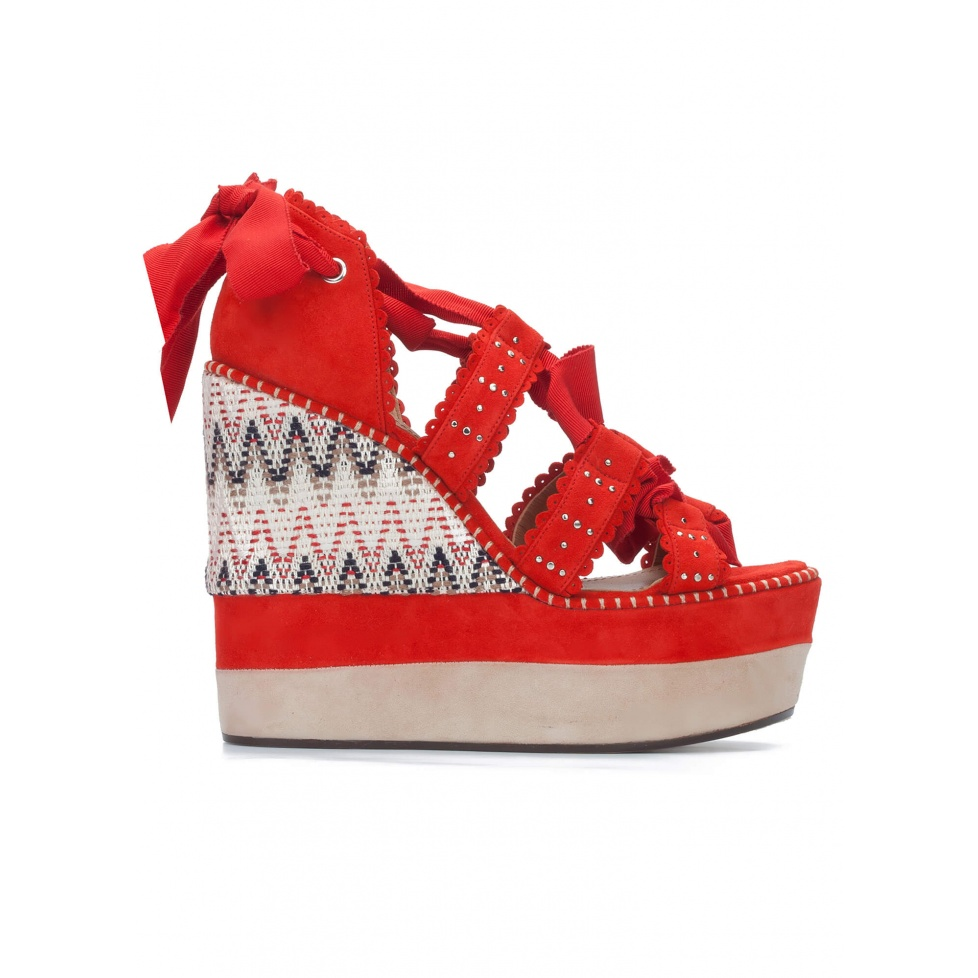 Red high wedge sandals with printed wedge