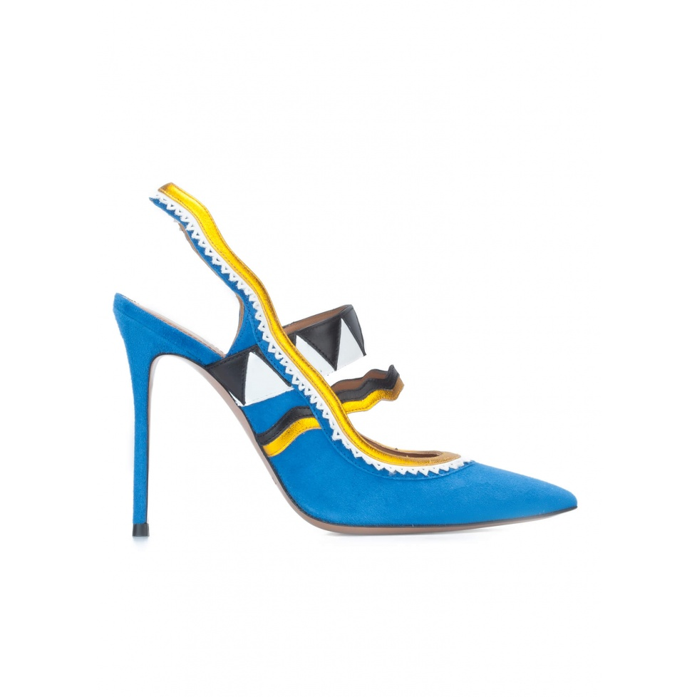Royal blue high heel slingback pumps