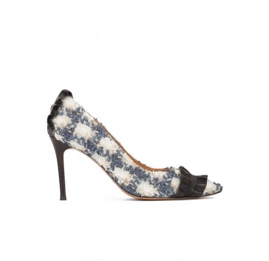 Zapatos de tacón alto en tejido de cuadros con volantes de piel Pura L�pez