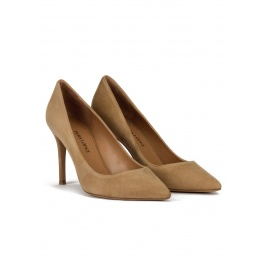 Point-toe high heel pumps in camel suede Pura López