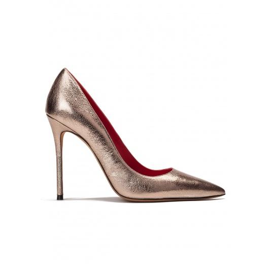 High heel pumps in gold metallic leather Pura L�pez