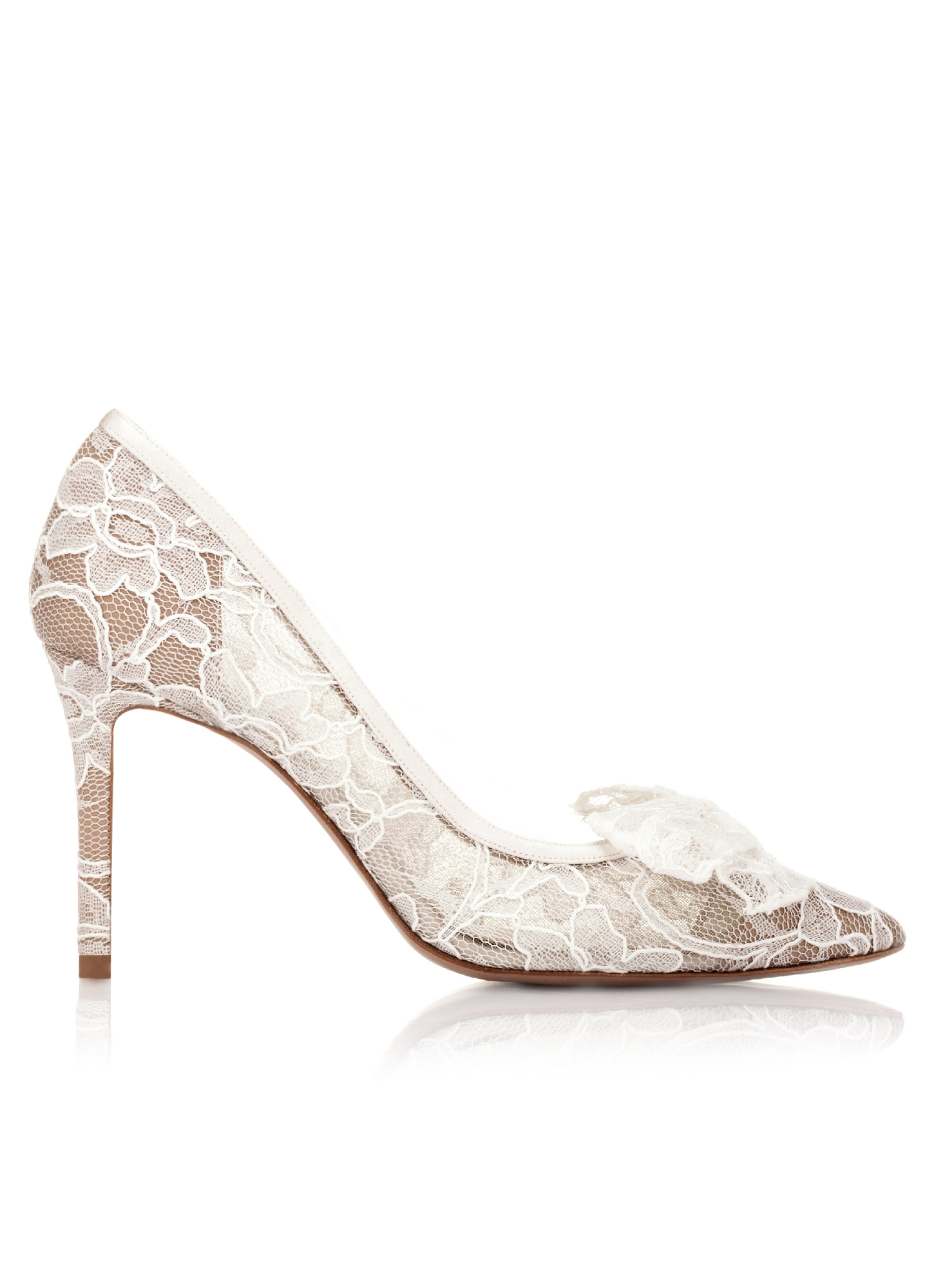 Pointy Toe Wedding Pumps In White Lace