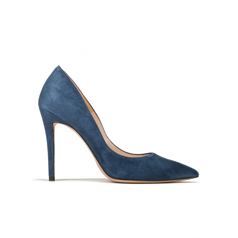 Zapatos de salón con tacón alto en ante azul océano