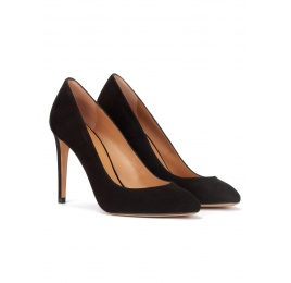 High heel almodn-toe pumps in black suede Pura López