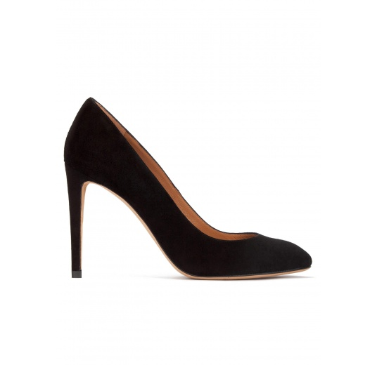 High heel almodn-toe pumps in black suede Pura L�pez
