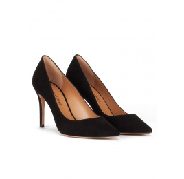 Black suede point-toe classic heels Pura López