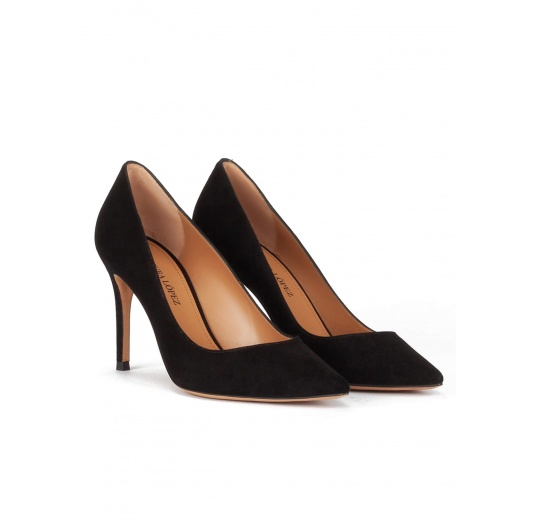 Black suede point-toe classic heels Pura L�pez