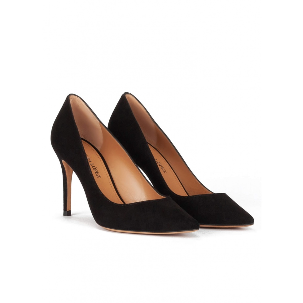 Black suede point-toe classic heels