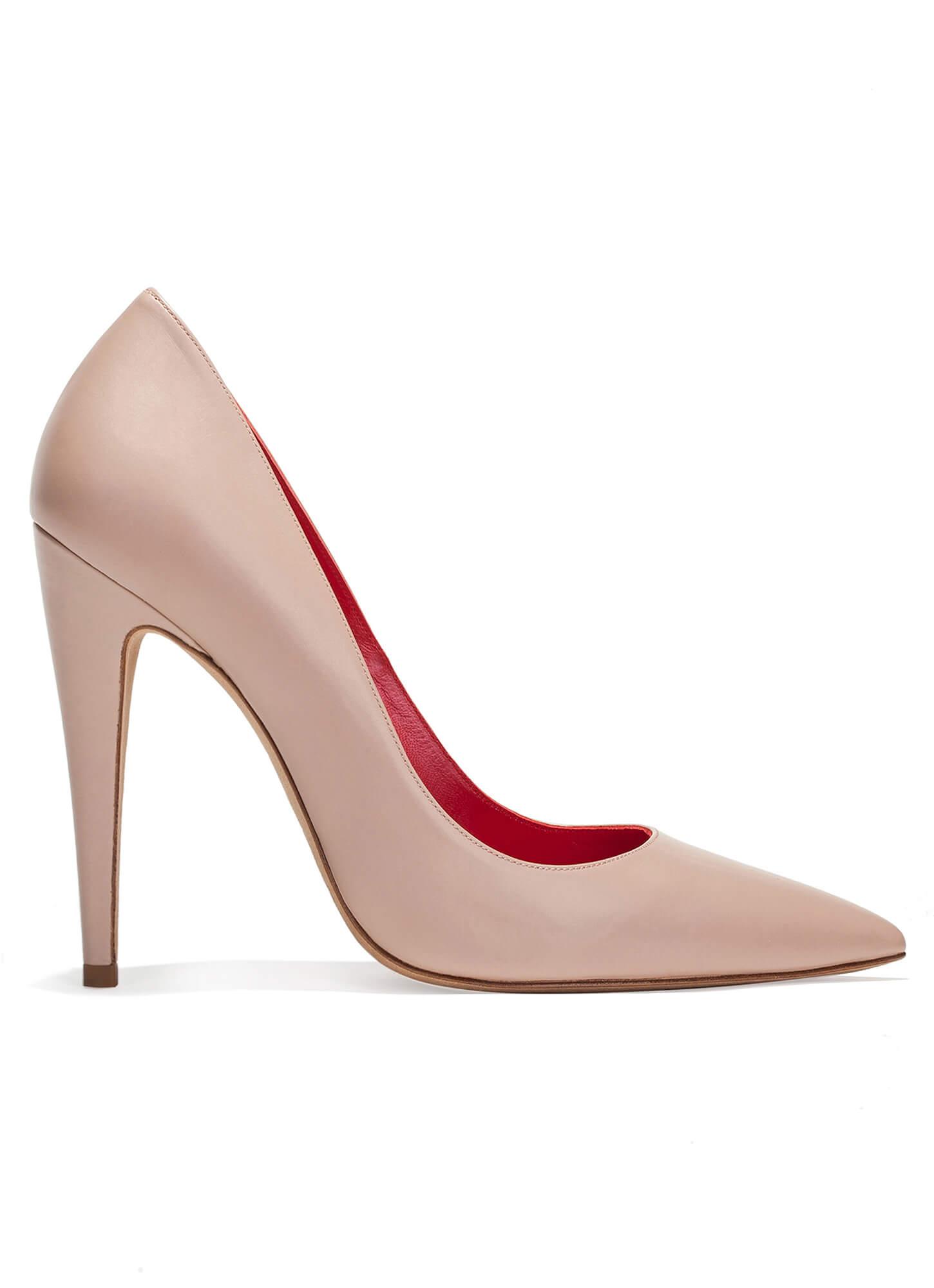 Zapatos de salón con tacón alto en piel nude ...