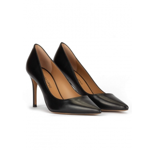 Black leather stiletto heel point-toe pumps Pura L�pez