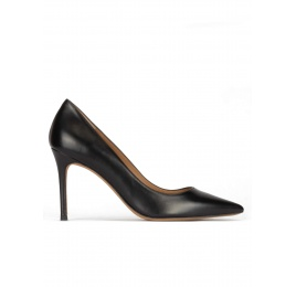 Black leather stiletto heel point-toe pumps Pura López