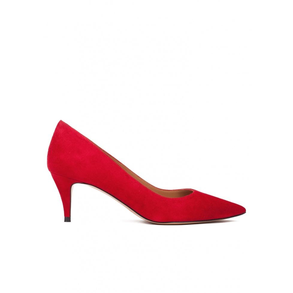 Zapatos de salón con tacón medio en ante rojo