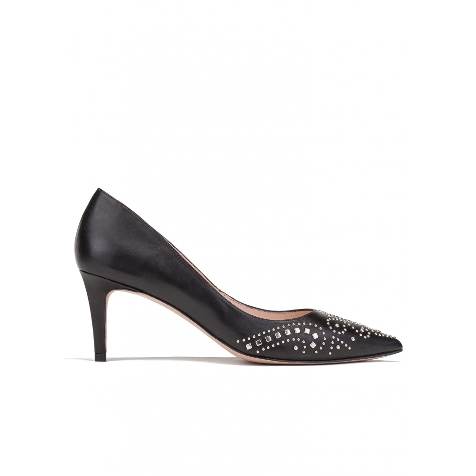 Studded mid heel pumps in black leather