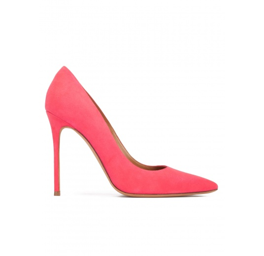 Heeled point-toe pumps in coral pink suede Pura L�pez