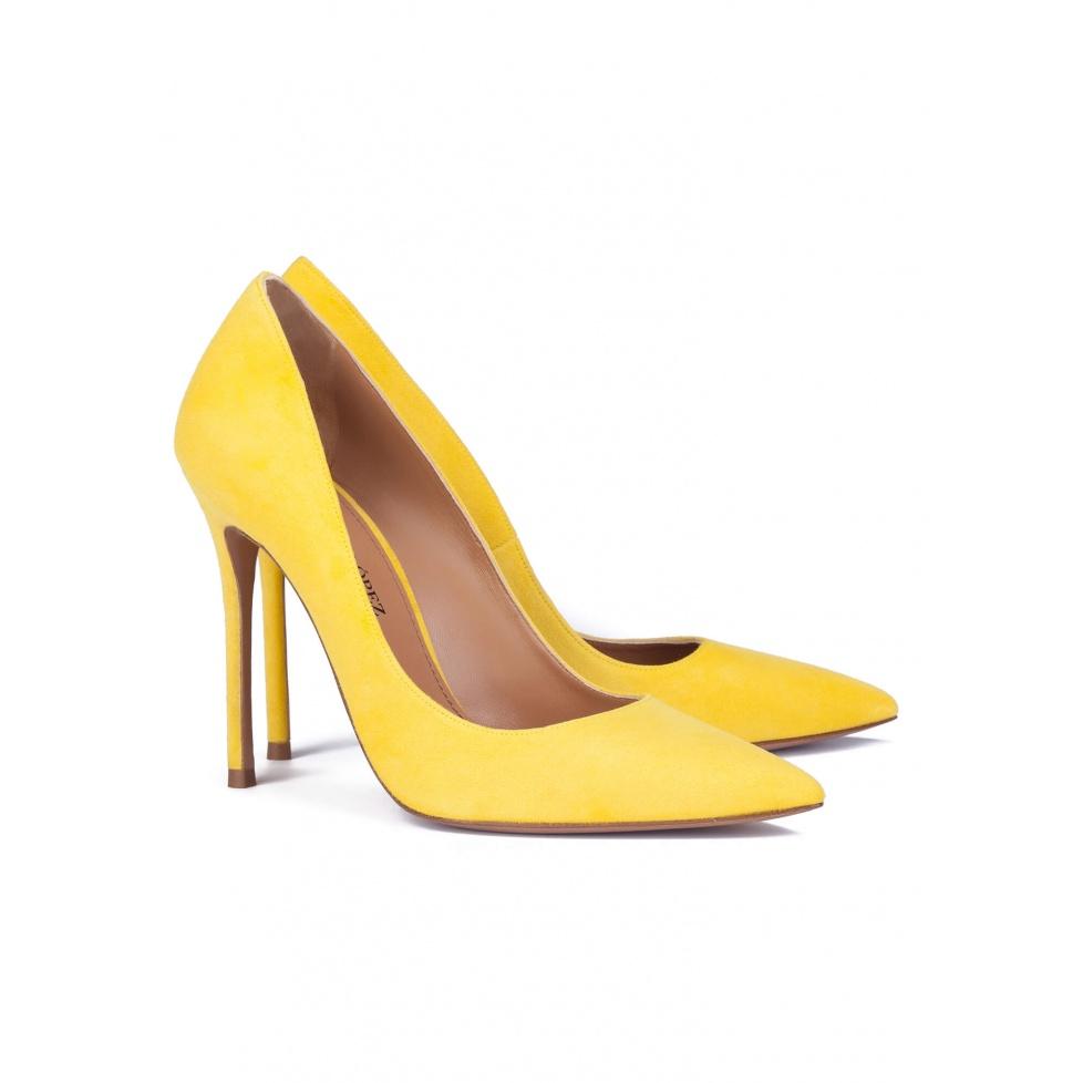High heel pumps in yellow suede - online shoe store Pura Lopez