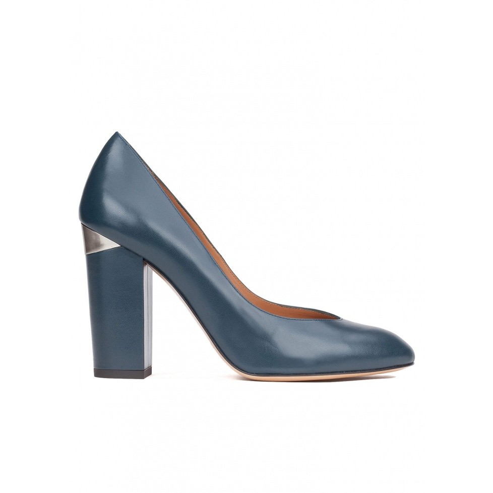 High block heel pumps in petrol blue leather