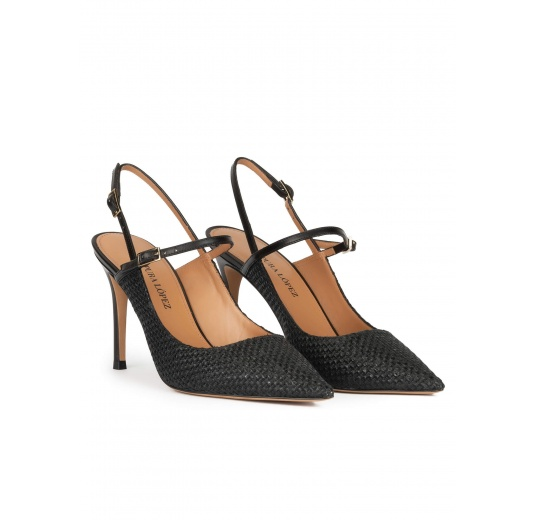 Slingback high heel point-toe pumps in black raffia Pura López