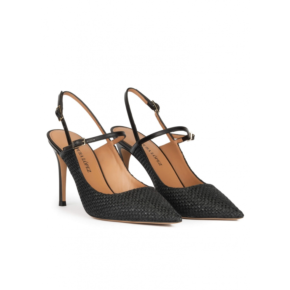 Slingback high heel point-toe pumps in black raffia
