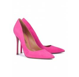 Fuxia suede pointy toe stiletto pumps Pura López