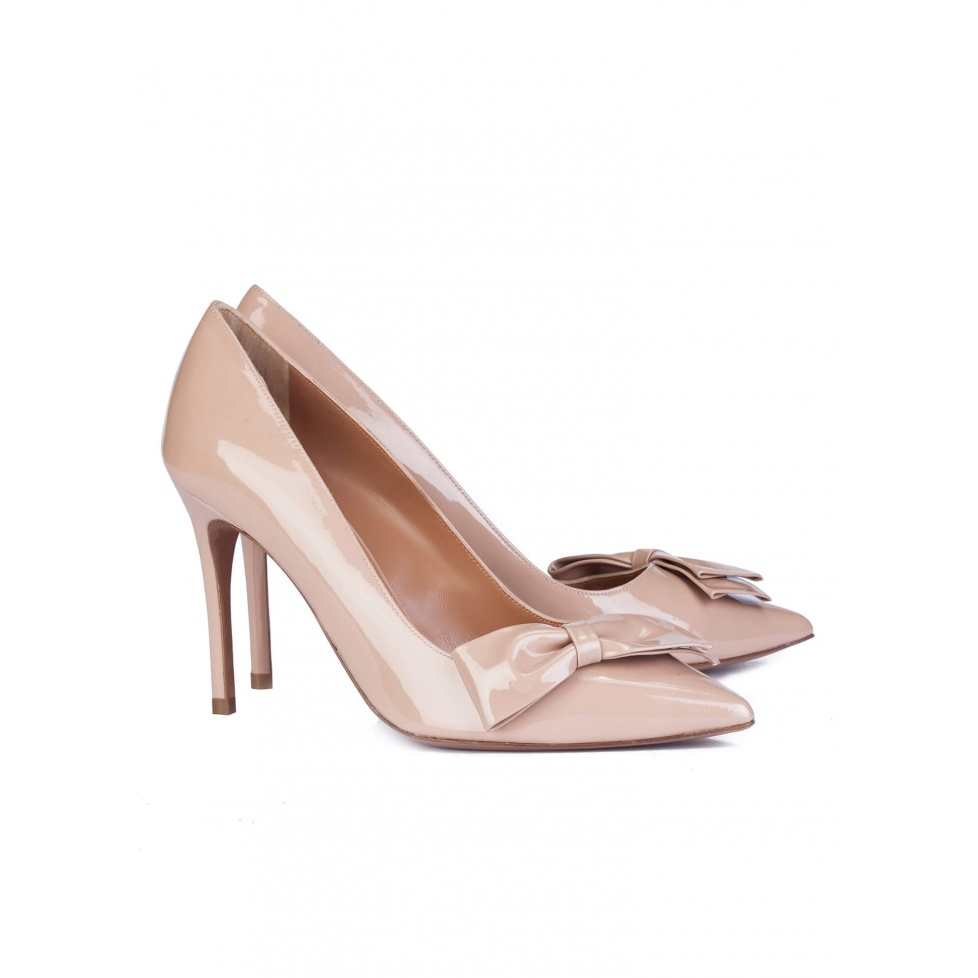 Bow high heel pumps in nude patent  - online shoe store Pura Lopez