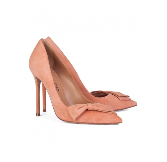 Bow detailed high heel pumps in old rose suede Pura L�pez
