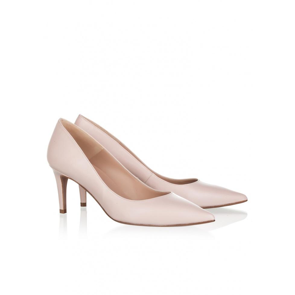 Mid heel pumps in rose quartz leather- online shoe store Pura Lopez