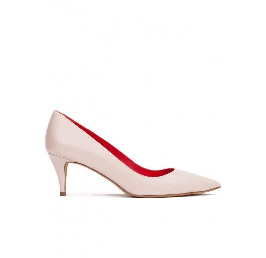 Mid heel pumps in rose quartz leather Pura L�pez