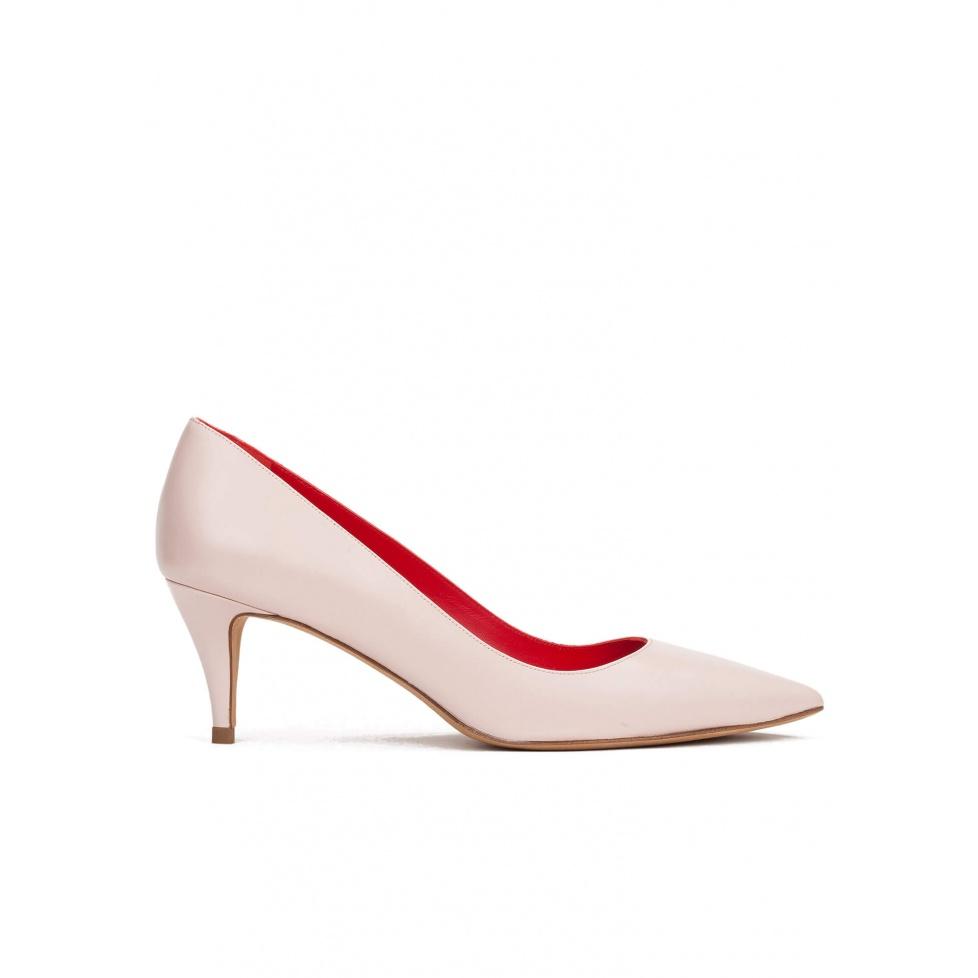 Zapatos de salón con tacón medio en piel rosa cuarzo