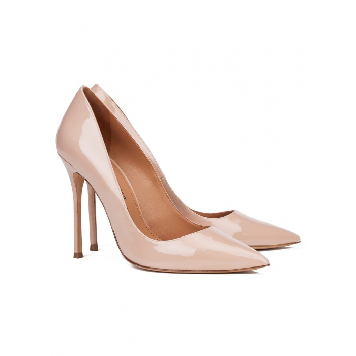 High heel pumps in nude patent - online shoe store Pura Lopez