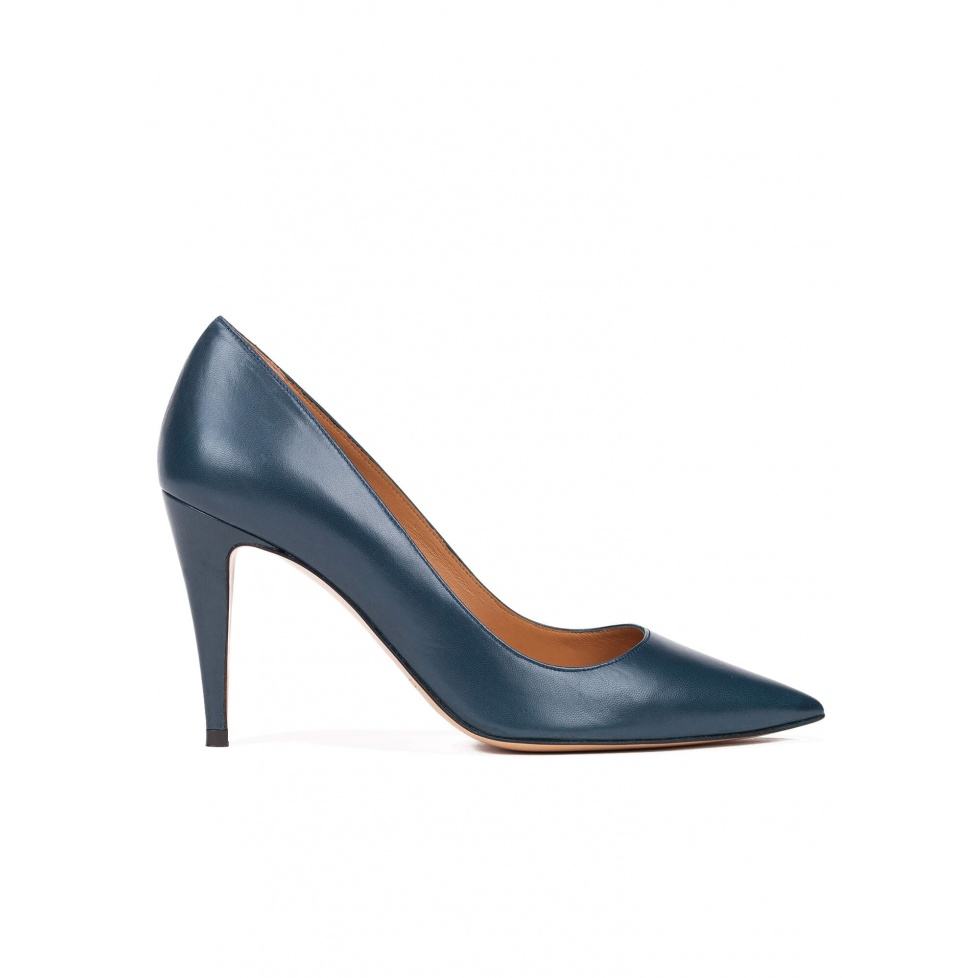 High heel pumps in petrol blue leather
