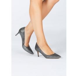 Metallic textile mid heel pumps Pura López