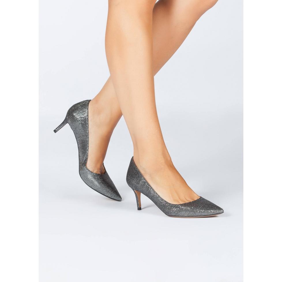 Mid heel pumps in metallic textile - online shoe store Pura Lopez